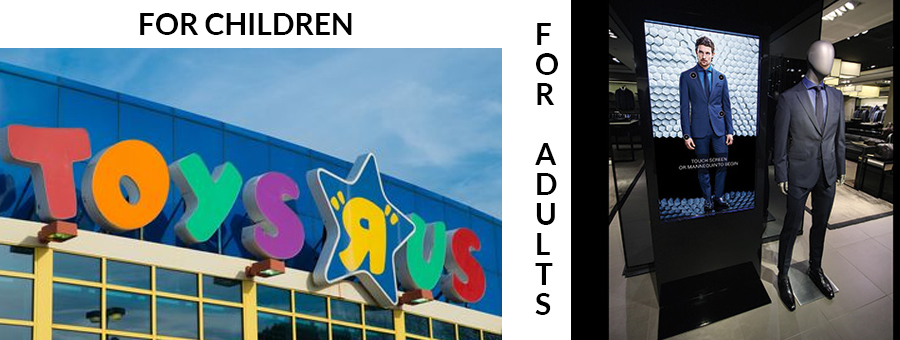 sign comparison for children's and adults