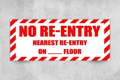 No Re-Entry Floor Number Signs