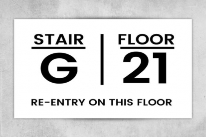 Stairs and Floor Number Sign