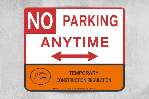 NO Parking Construction Site Sign