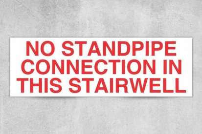 No Standpipe Stairwell Sign