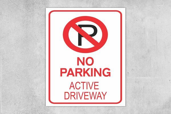 No Parking Active Driveway Sign