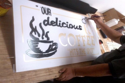 Hand Painted Sign For Coffee Shop