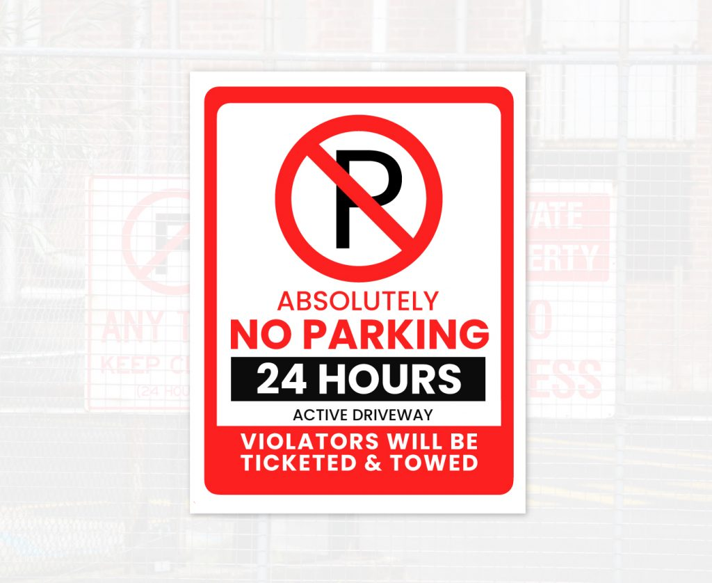 24-hours no parking sign