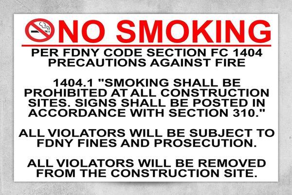 FDNY 1404 No Smoking Sign