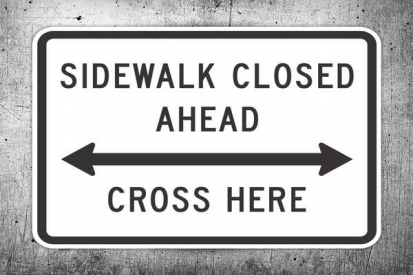 Sidewalk Closed Ahead Sign