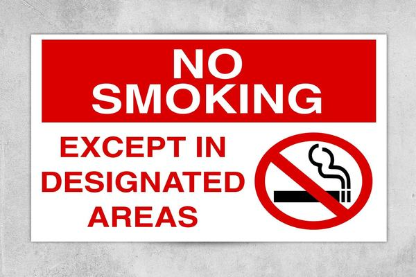 Expect in Designed Area No Smoking Sign