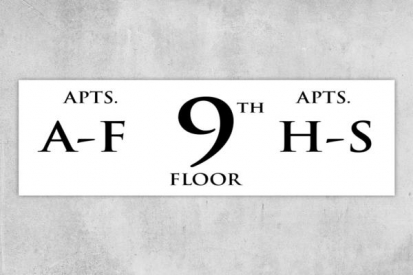 Building Apartment 9th Floor Number Sign