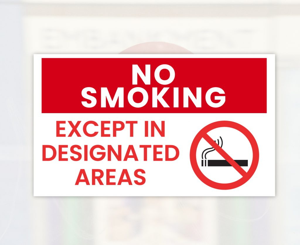 expect in designed area no smoking