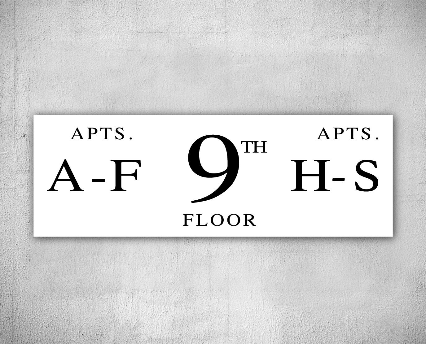 horizontal floor number signs