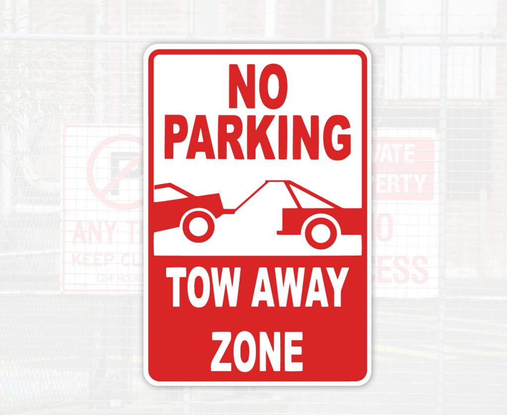 no parking tow-away zone sign