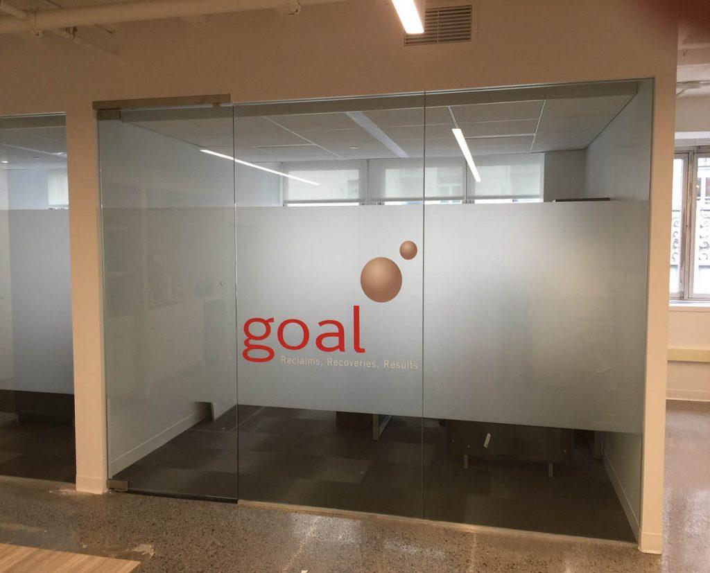 reverse glass window frosted logo