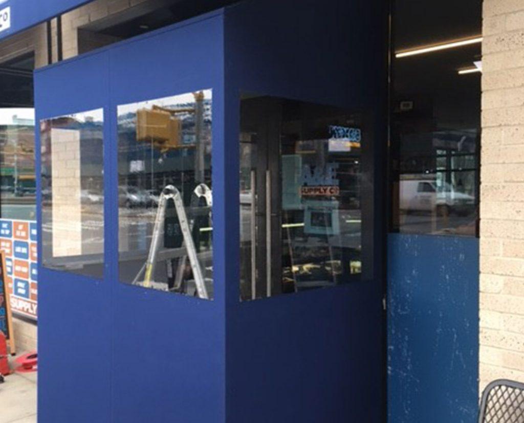 royal blue fabric vestibule