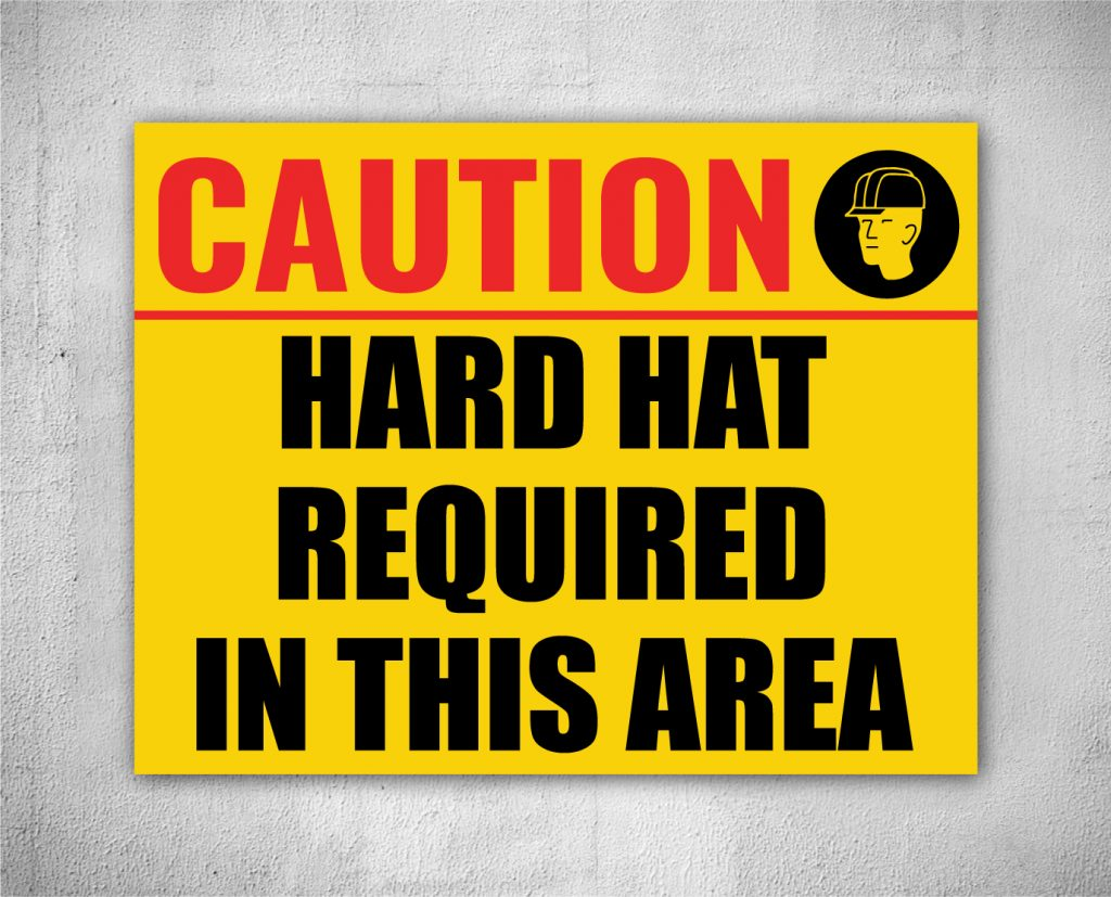 safety sign for hard hat areas