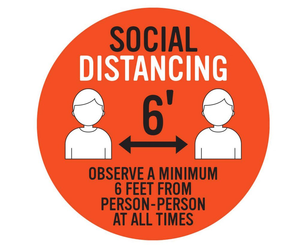 6 feet ahead social distancing frame sign