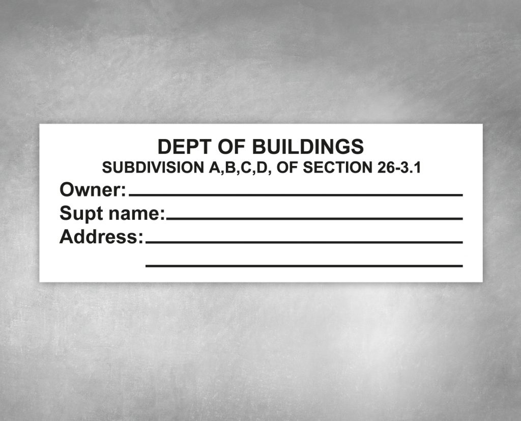 dept of building subdivision sign