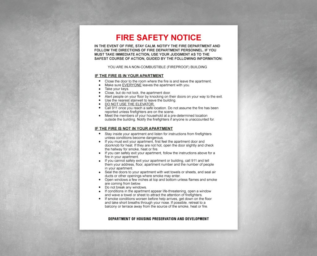 fire safety notice hpd sign