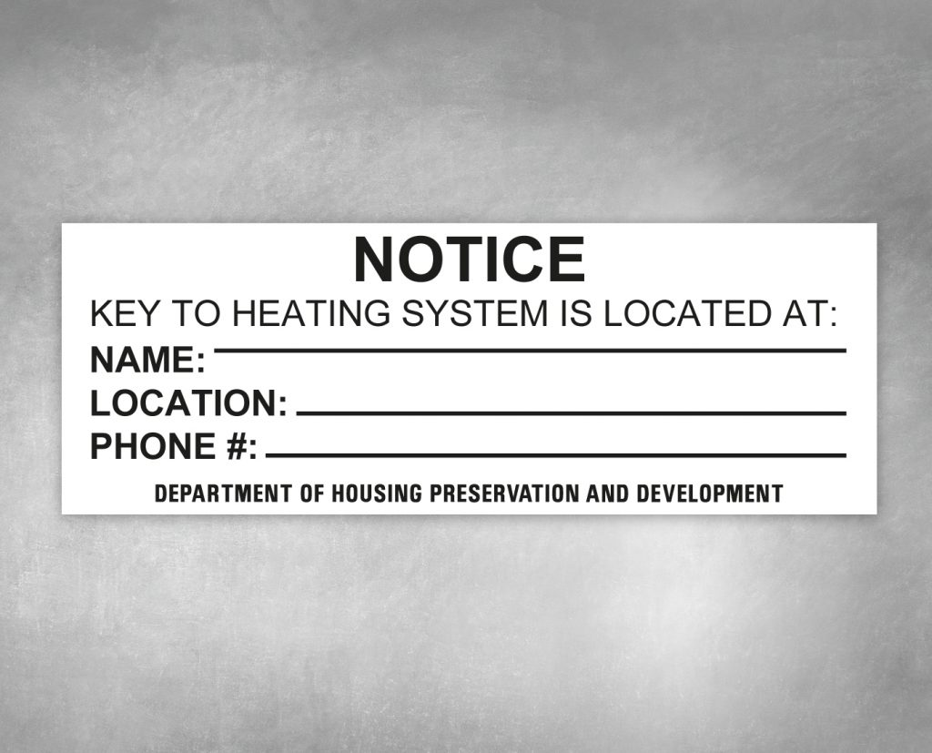 key to heating system hpd sign