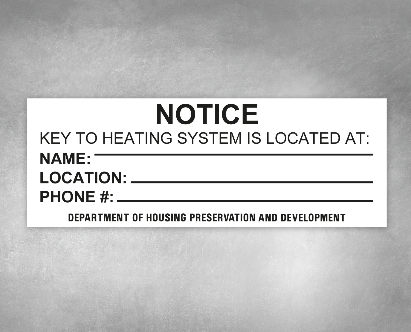 key to heating system notice