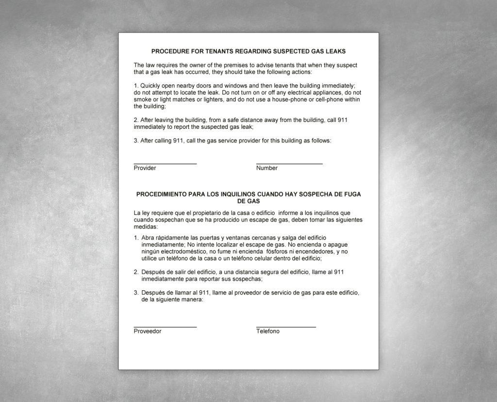 suspected gas leaks notice