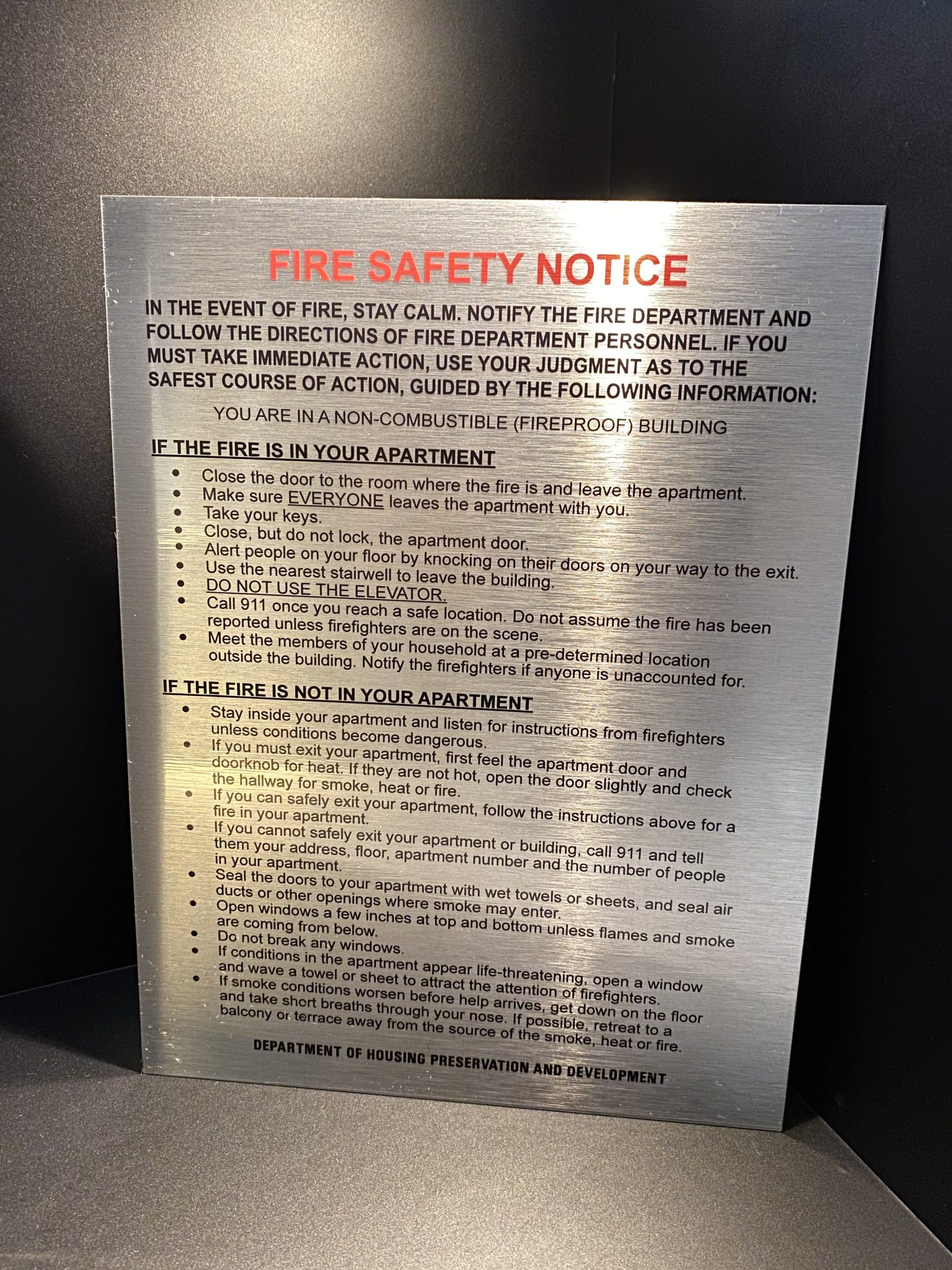 fire safety notice