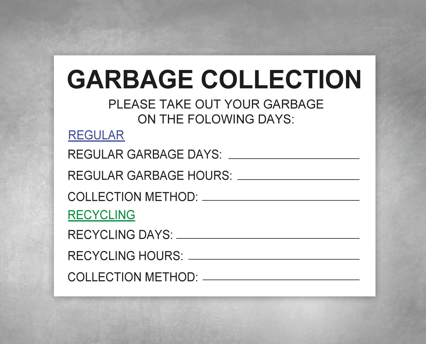 garbage collection hpd sign