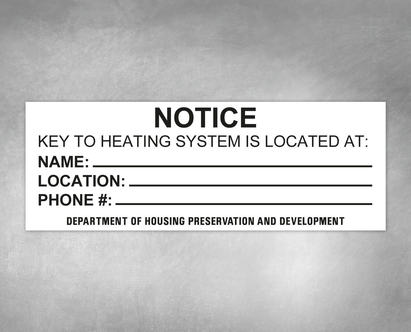 key to heating system building sign